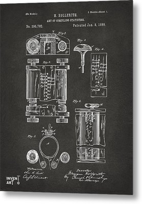 1889 First Computer Patent Gray Metal Print by Nikki Marie Smith