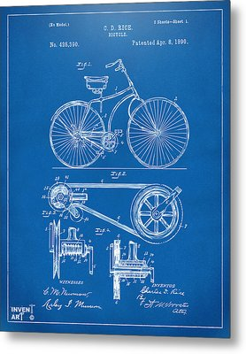 1890 Bicycle Patent Artwork - Blueprint Metal Print by Nikki Marie Smith