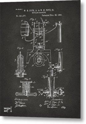 1890 Bottling Machine Patent Artwork Gray Metal Print by Nikki Marie Smith
