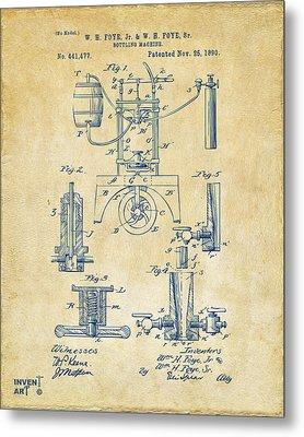 1890 Bottling Machine Patent Artwork Vintage Metal Print by Nikki Marie Smith