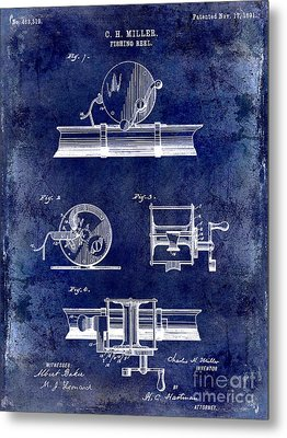 1891 Fishing Reel Patent Drawing Blue Metal Print by Jon Neidert