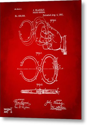 1891 Police Nippers Handcuffs Patent Artwork - Red Metal Print by Nikki Marie Smith