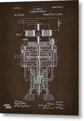 1894 Tesla Electric Generator Patent Espresso Metal Print by Nikki Marie Smith