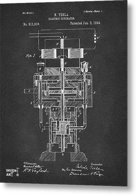 1894 Tesla Electric Generator Patent Gray Metal Print by Nikki Marie Smith