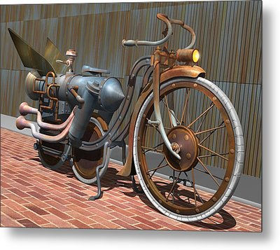 1899 Inline Steam Trike Metal Print by Stuart Swartz
