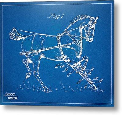 1900 Horse Hobble Patent Artwork Metal Print by Nikki Smith