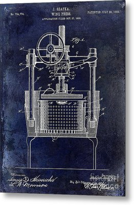 1902 Wine Press Patent Drawing Blue Metal Print by Jon Neidert