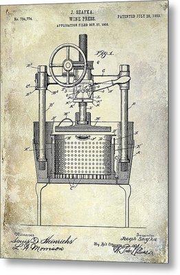 1902 Wine Press Patent Drawing Metal Print by Jon Neidert