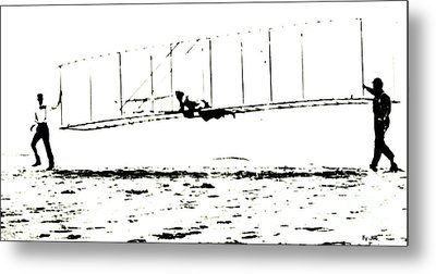1902 Wright Brothers Glider Tests Metal Print by R Muirhead Art