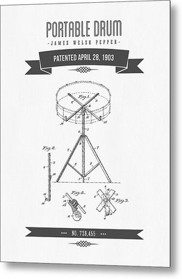 1903 Portable Drum Patent Drawing Metal Print by Aged Pixel