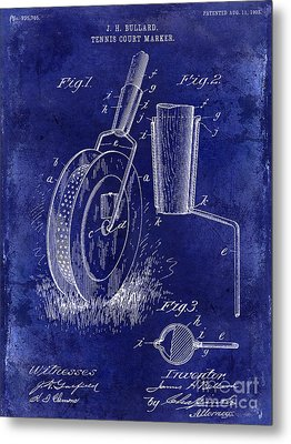 1903 Tennis Court Marker Patent Drawing Blue Metal Print by Jon Neidert