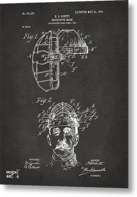 1904 Baseball Catchers Mask Patent Artwork - Gray Metal Print by Nikki Marie Smith