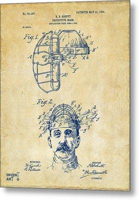 1904 Baseball Catchers Mask Patent Artwork - Vintage Metal Print by Nikki Marie Smith