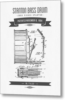 1904 Stanton Bass Drum Patent Drawing Metal Print by Aged Pixel