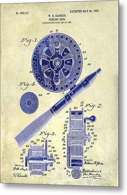 1906 Fishing Reel Patent Drawing 2 Tone Metal Print by Jon Neidert