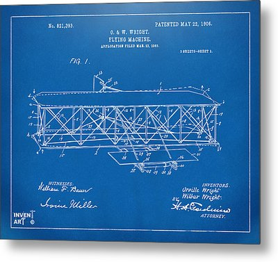 1906 Wright Brothers Flying Machine Patent Blueprint Metal Print by Nikki Marie Smith