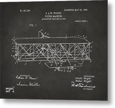1906 Wright Brothers Flying Machine Patent Gray Metal Print by Nikki Marie Smith