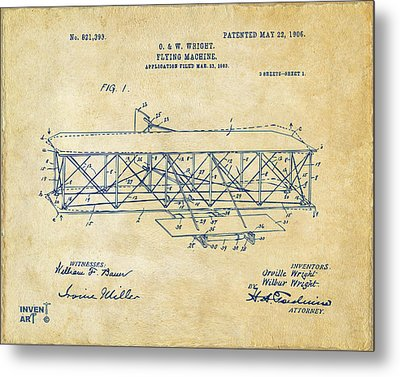 1906 Wright Brothers Flying Machine Patent Vintage Metal Print by Nikki Marie Smith