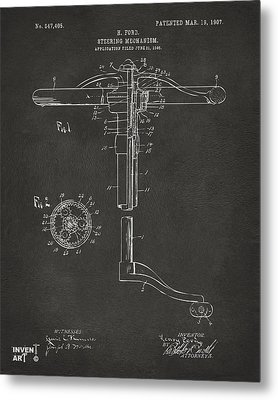 1907 Henry Ford Steering Wheel Patent Gray Metal Print by Nikki Marie Smith