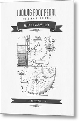 1909 Ludwig Foot Pedal Patent Drawing Metal Print by Aged Pixel