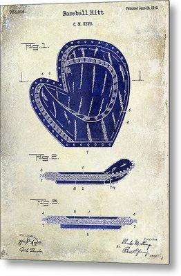 1910 Baseball Patent Drawing 2 Tone Metal Print by Jon Neidert