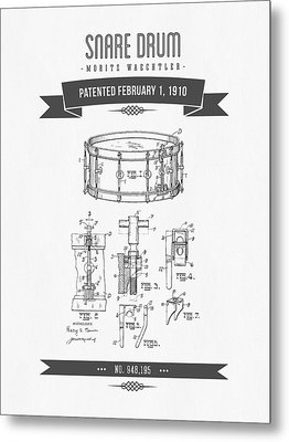 1910 Snare Drum Patent Drawing Metal Print by Aged Pixel