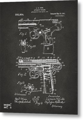1911 Automatic Firearm Patent Artwork - Gray Metal Print by Nikki Marie Smith