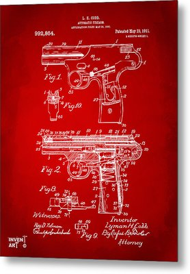 1911 Automatic Firearm Patent Artwork - Red Metal Print by Nikki Marie Smith