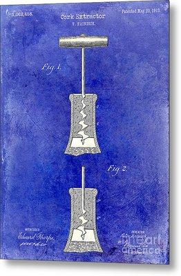 1913 Cork Extractor Patent Drawing 2 Tone Blue Metal Print by Jon Neidert