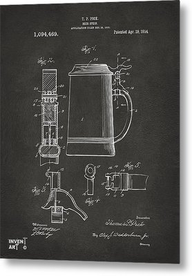 1914 Beer Stein Patent Artwork - Gray Metal Print by Nikki Marie Smith