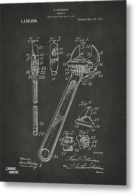 1915 Wrench Patent Artwork - Gray Metal Print by Nikki Marie Smith