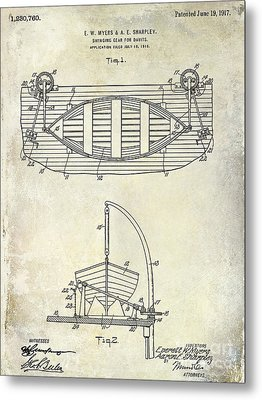 1917 Davit Patent Drawing  Metal Print by Jon Neidert