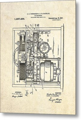 1917 Telegraphone Patent Art Metal Print by Gary Bodnar