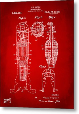 1921 Explosive Missle Patent Red Metal Print by Nikki Marie Smith