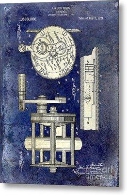 1921 Fishing Reel Patent Drawing 2 Tone Blue Metal Print by Jon Neidert
