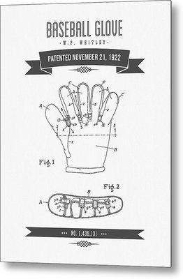 1922 Baseball Glove Patent Drawing Metal Print by Aged Pixel