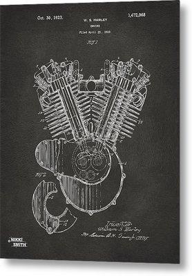 1923 Harley Engine Patent Art - Gray Metal Print by Nikki Marie Smith