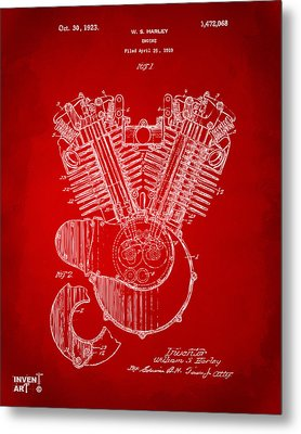 1923 Harley Engine Patent Art Red Metal Print by Nikki Marie Smith
