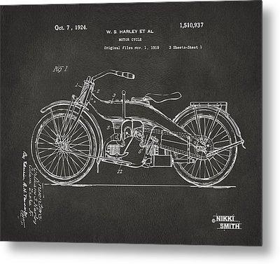 1924 Harley Motorcycle Patent Artwork - Gray Metal Print by Nikki Marie Smith