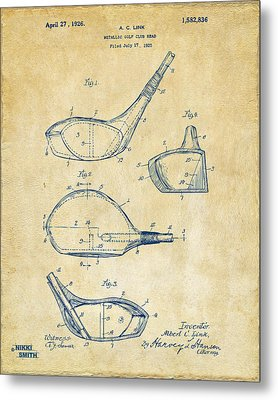 1926 Golf Club Patent Artwork - Vintage Metal Print by Nikki Marie Smith