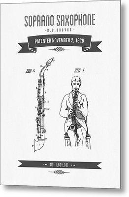 1926 Soprano Saxophone Patent Drawing Metal Print by Aged Pixel