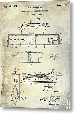 1927 Fish And Fowl Cleaning Device Patent Metal Print by Jon Neidert