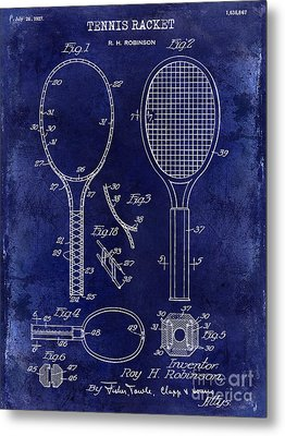 1927 Tennis Racket Patent Drawing Blue Metal Print by Jon Neidert