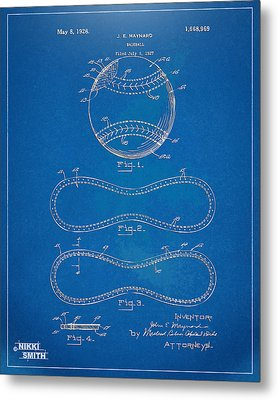 1928 Baseball Patent Artwork - Blueprint Metal Print by Nikki Smith