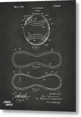 1928 Baseball Patent Artwork - Gray Metal Print by Nikki Marie Smith