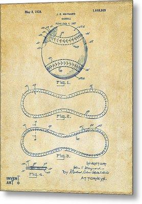1928 Baseball Patent Artwork Vintage Metal Print by Nikki Marie Smith