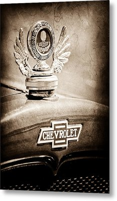 1928 Chevrolet Stake Bed Pickup Hood Ornament - Emblem Metal Print by Jill Reger