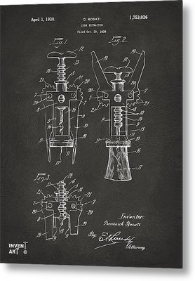 1928 Cork Extractor Patent Artwork - Gray Metal Print by Nikki Marie Smith