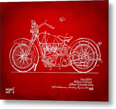 1928 Harley Motorcycle Patent Artwork Red Metal Print by Nikki Marie Smith