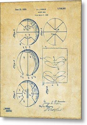 1929 Basketball Patent Artwork - Vintage Metal Print by Nikki Marie Smith